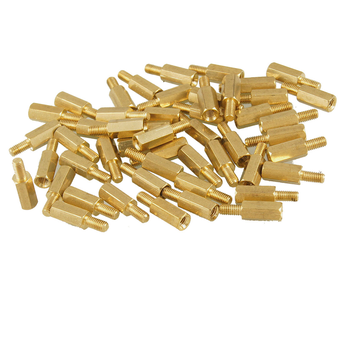 50 Pcs Brass Screw Standoffs Hexagonal Spacers M3 Male x M3 Female 10mm Length