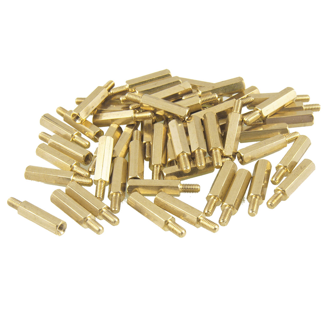 50 Pcs M3 Male x M3 Female 16mm Body Gold Tone Hex PCB Standoff Spacers