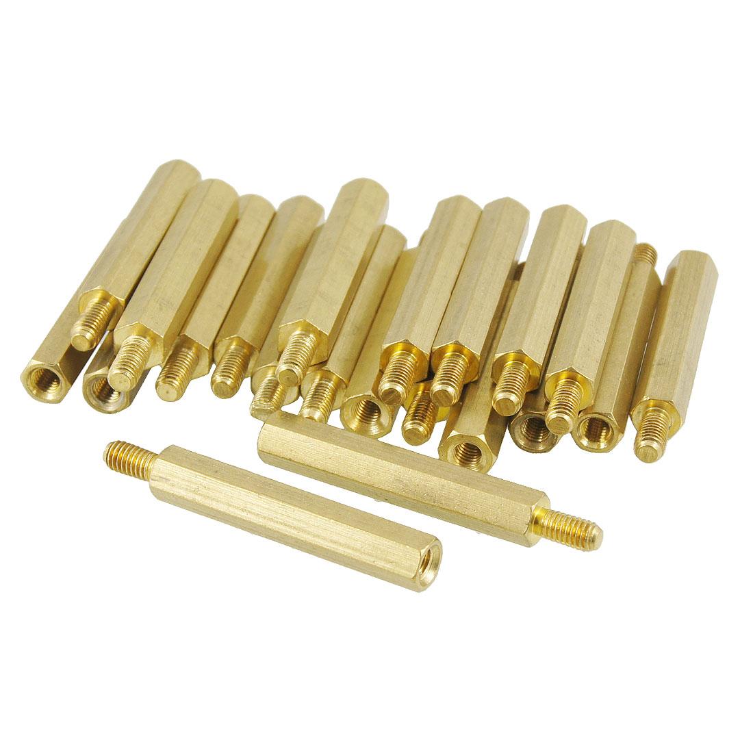 20 Pcs M3 Male x M3 Female 28mm Body Gold Tone Hex PCB Standoff Spacers