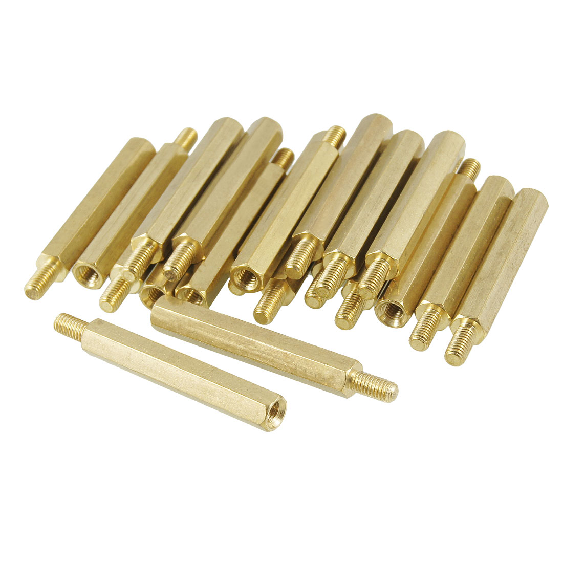 30mm Body Gold Tone Plated Brass 3mm Male-female Thread PCB Spacer Surpport 20 Pcs
