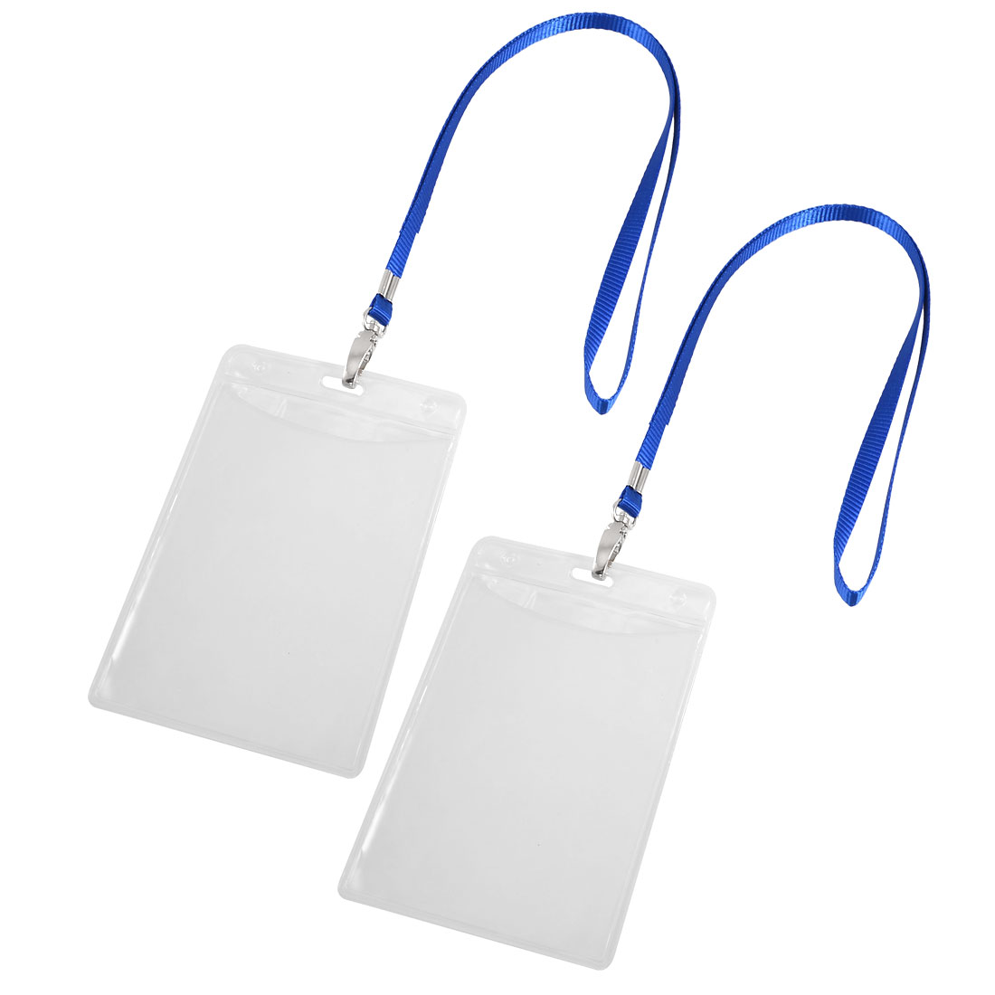 Plastic Vertical ID Badge Card Holder Clear 2 Pcs w Detachable Neck Lanyard