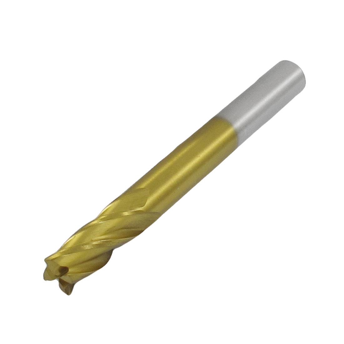 6mm Shank Cuttng Diameter HSS Straight Shank End Mill Gold Tone