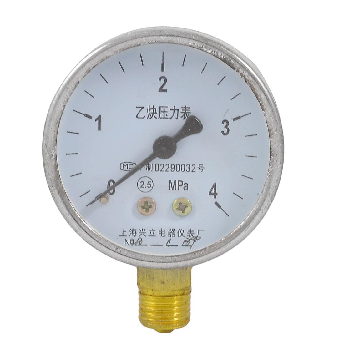 0-4 Mpa 14mm Thread Metal Shell Acetylene Pressure Gauge