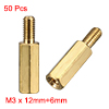 50 Pcs Brass Screw Hexagonal Stand-off Spacer M3 Male x M3 Female 12mm Body Length