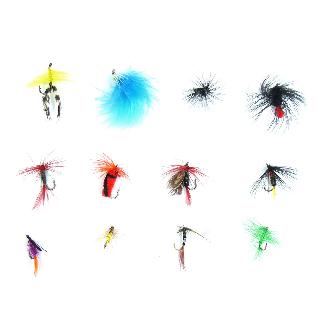 Floss Ornament Bait Sharp Metal FishHook Assorted Color 12 Pcs