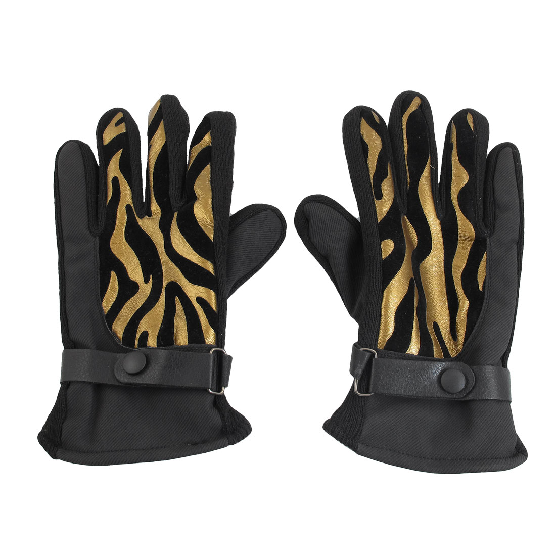 Fleece Lining Golden Tone Black Skiing Snowboard Winter Snow Gloves