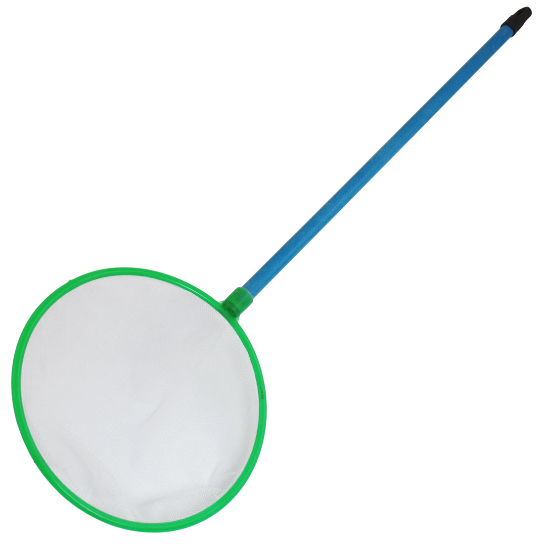 Green Round Mouth Frame Plastic Blue Handle Pond Tank Fish Landing Net