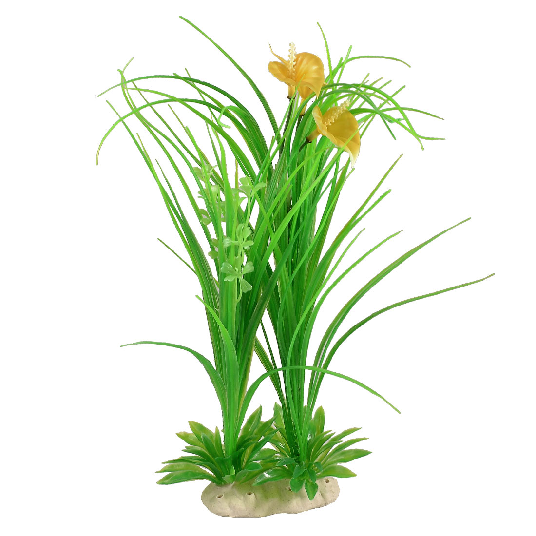 "10.2"" Height Green Yellow Plastic Aquarium Decor Grass for Tank"
