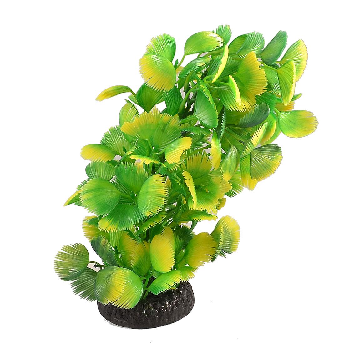 "8.7"" Height Green Yellow Plastic Aquarium Decor Grass for Tank"