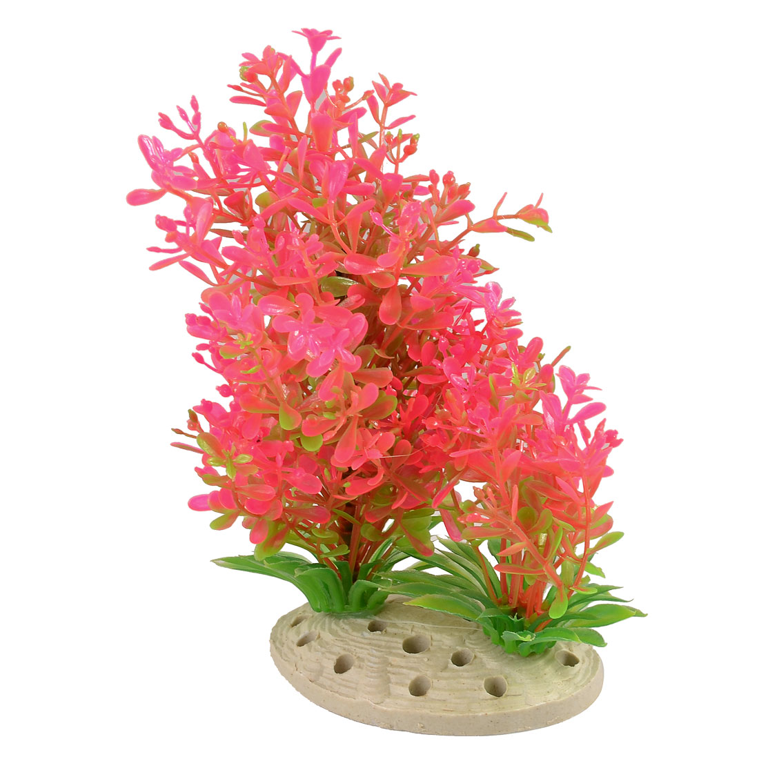 "6.7"" Height Pink Green Plastic Aquarium Decor Grass for Tank"