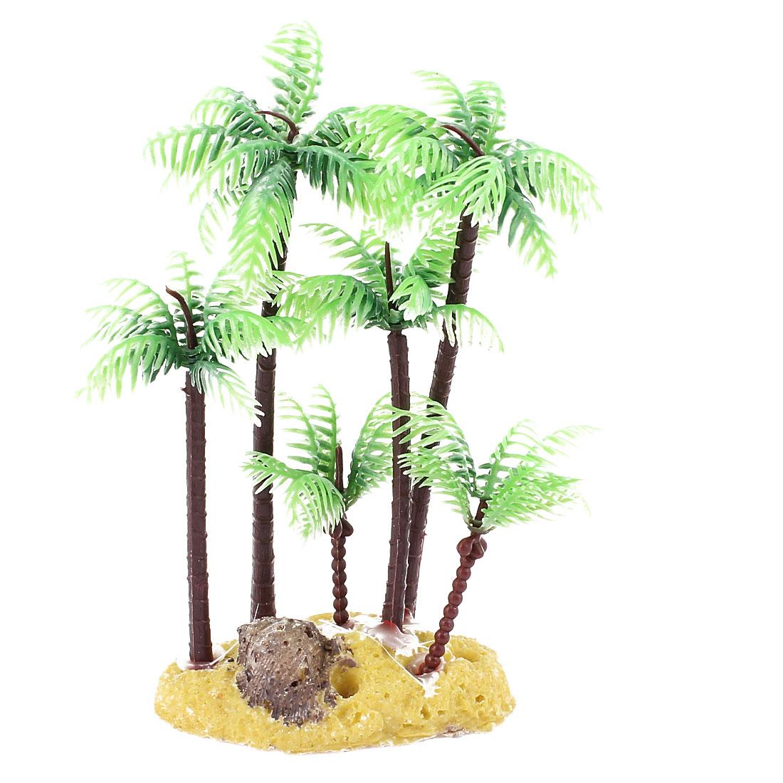 "Green Brown Plastic Palm Tree Plant Underwater Fish Tank Aquarium Ornament 5.4"""