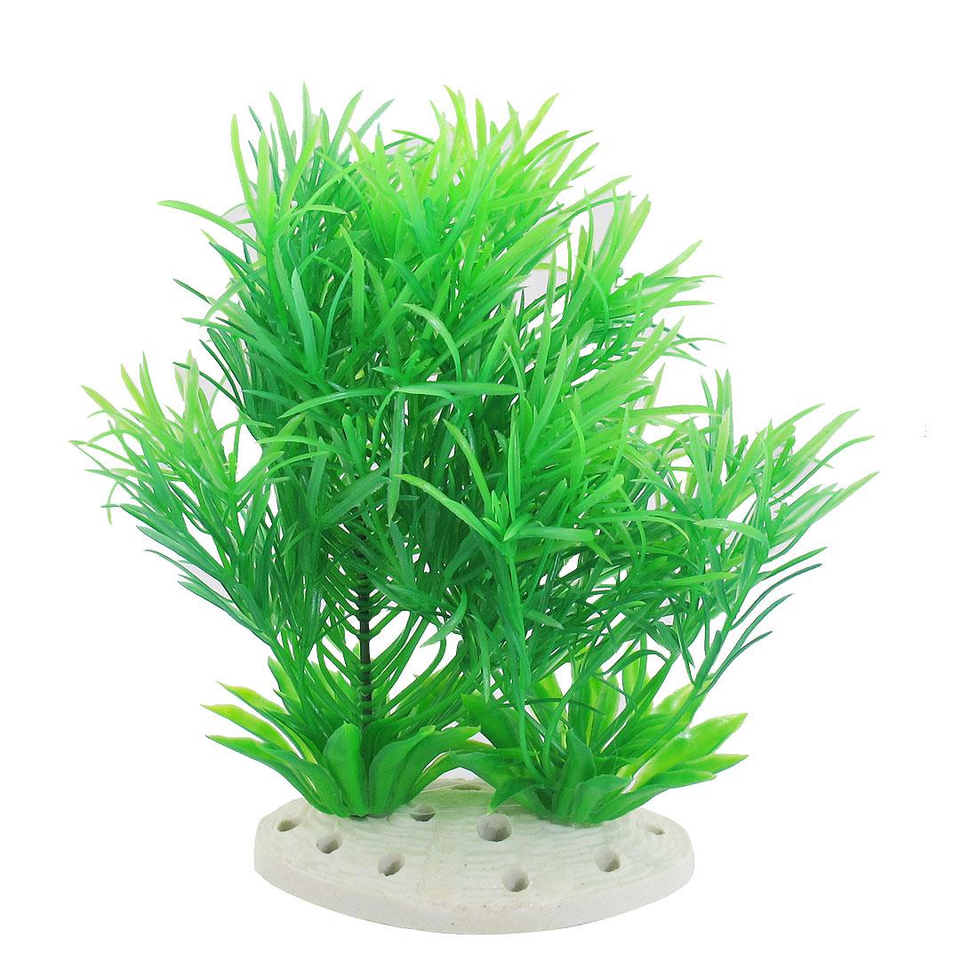 "Fish Pet Underwater Green Plastic Plants Fish Tank Aquarium Ornament 7.1"""