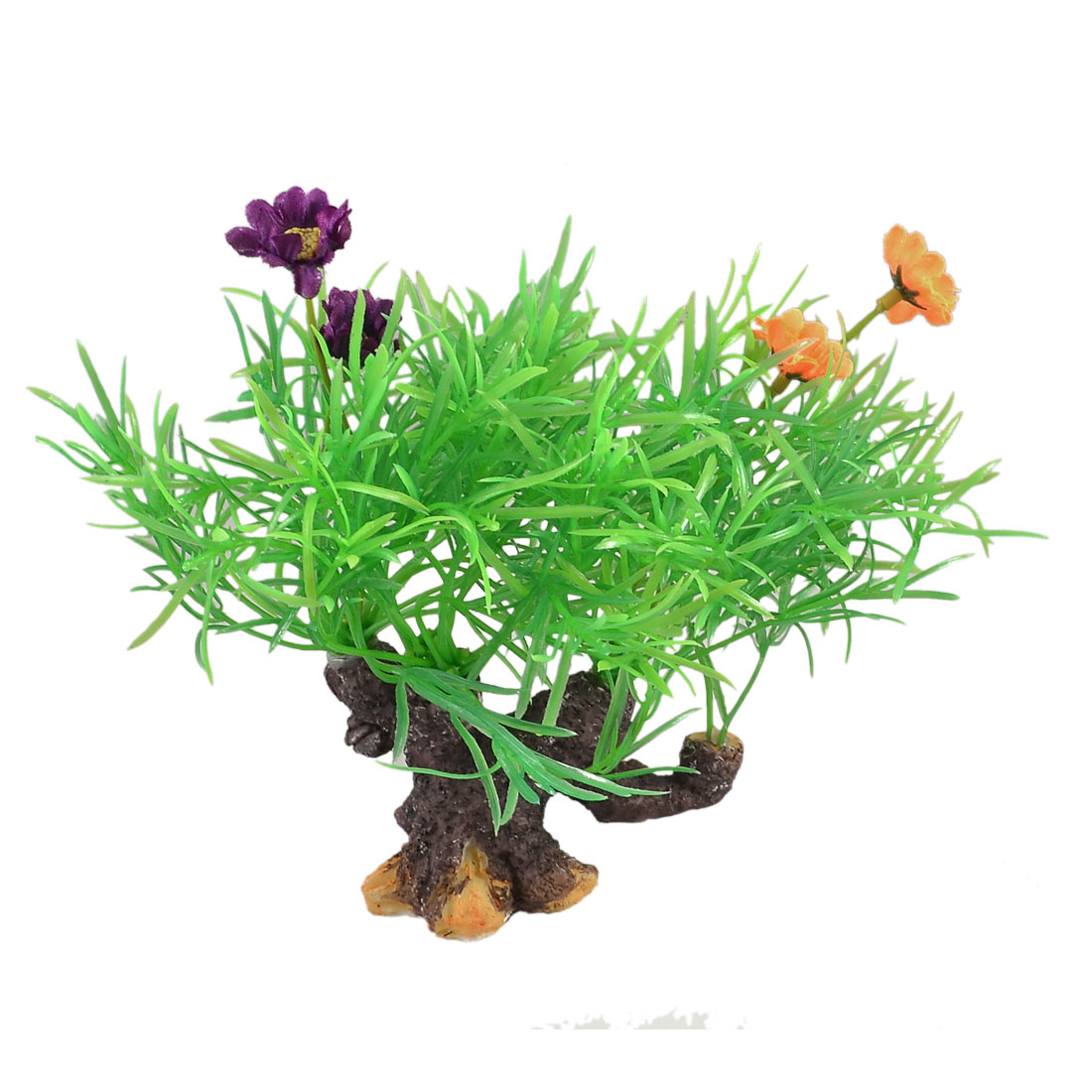 "5.5"" Height Root Shape Base Green Yellow Plastic Aquarium Decor Grass for Tank"