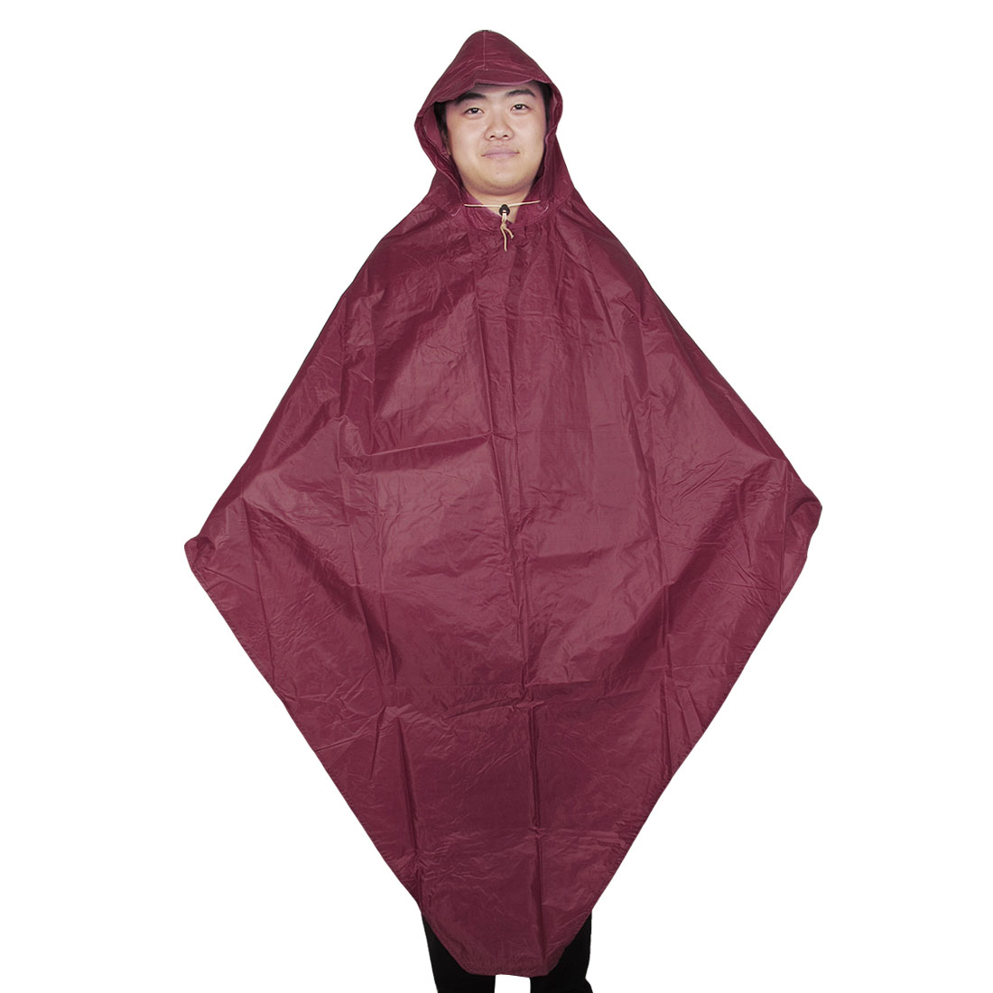 Dark Red Drawstring Closure Hooded Water Resistant Raincoat for Adult