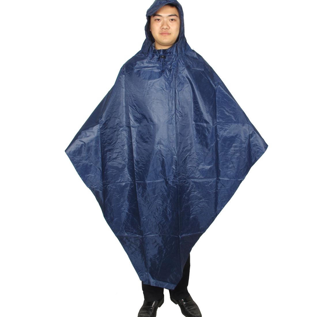 Adult Climbing Riding Dark Blue Hoodie Pullover Raincoat Poncho Rainwear