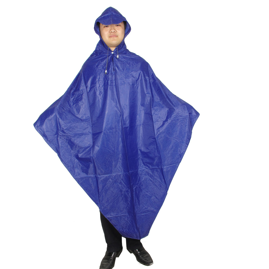 Adult Climbing Riding Blue Hoodie Pullover Raincoat Poncho Button Rainwear