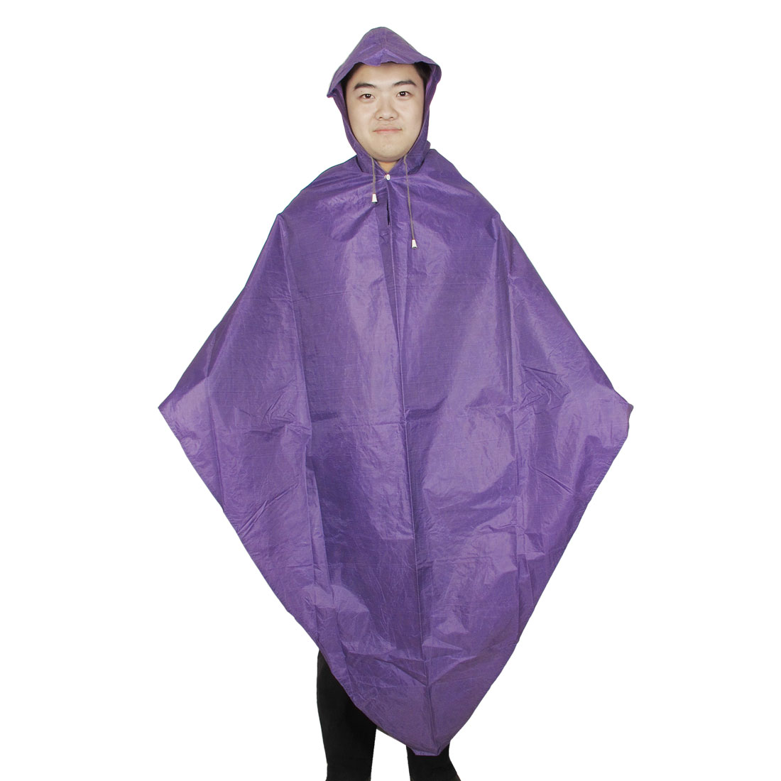 Drawstring Closed Outdoors Hiking Hooded Raincoat Rainwear Purple