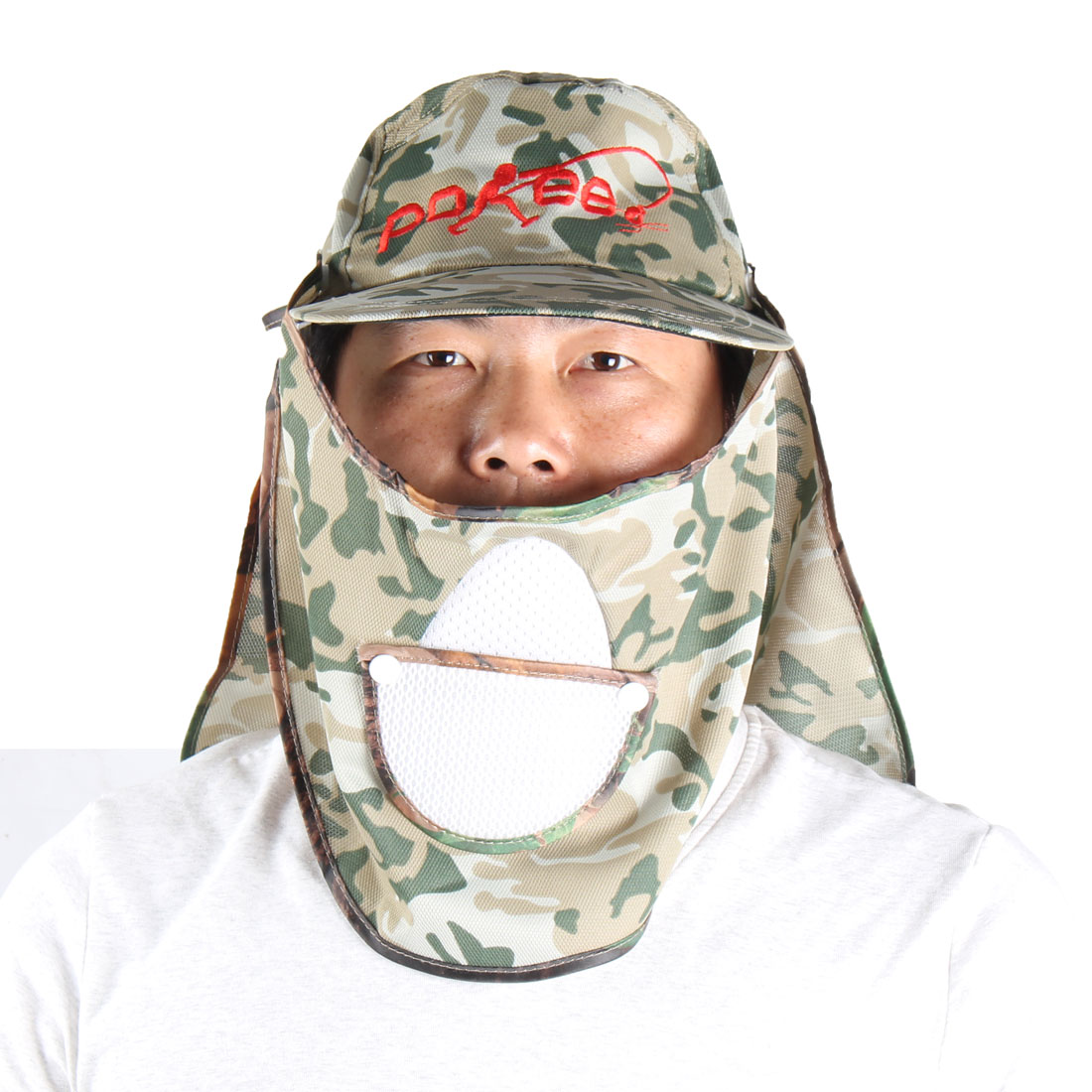 Camouflage Surface Detachable Front Back Hooded Fishing Hat Cap