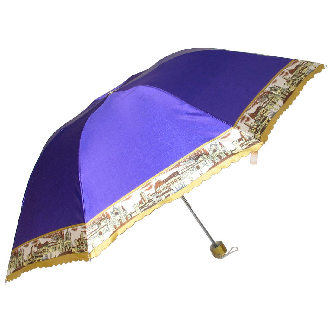 Outdoor Handy Foldable Purple Nylon Western Town Print Rain Sun Umbrella