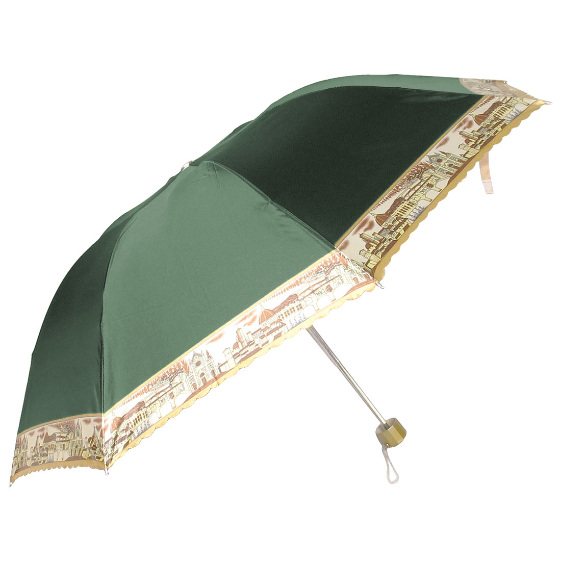 Outdoor Handy Foldable Green Nylon Western Town Print Rain Sun Umbrella
