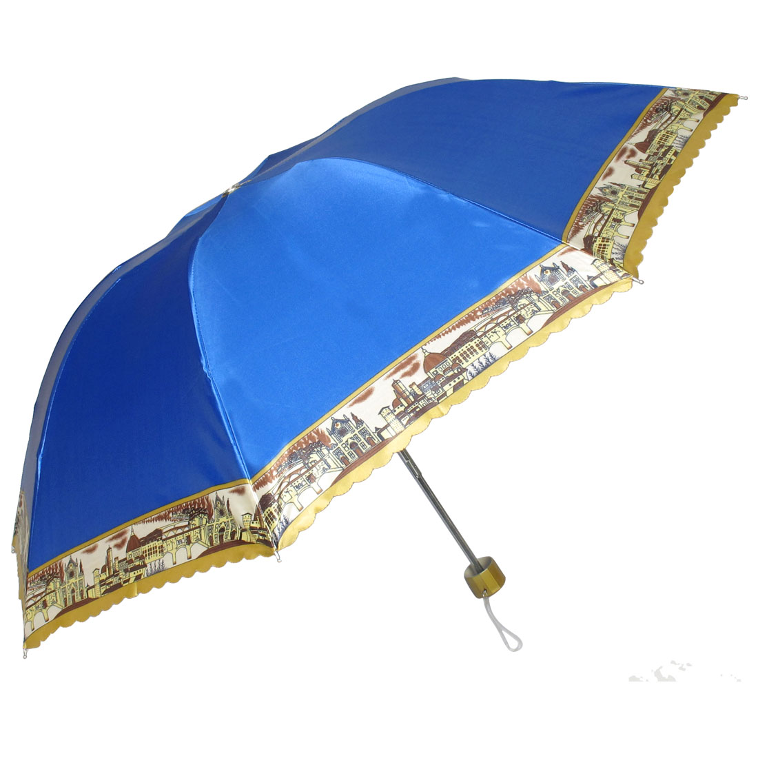 Outdoor Handy Foldable Blue Nylon Western Town Print Rain Sun Umbrella