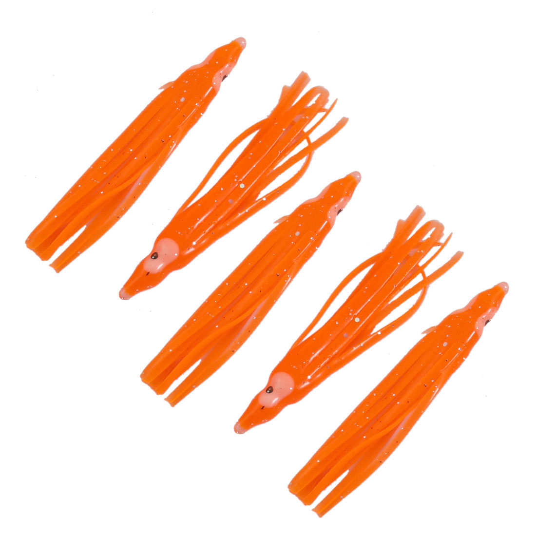 "Saltwater Orange Plastic 2.8"" Length Octopus Squid Rig Skirt Lure 5 Pcs"