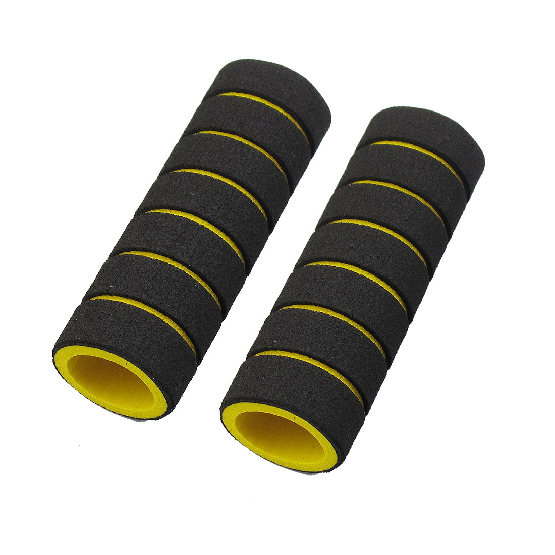 2 Pcs Striped Nonslip Cycling Bike Handlebar Grip Cover Black Yellow