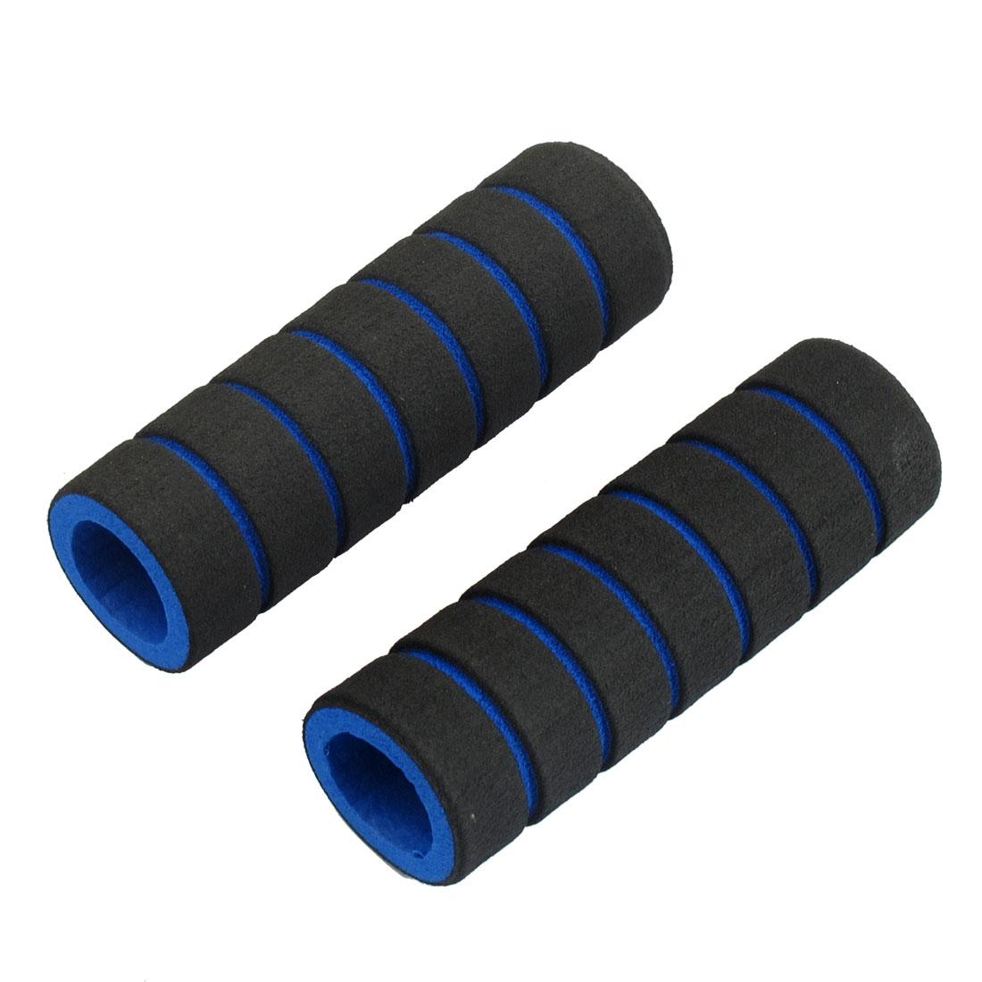 2 Pcs Striped Nonslip Cycling Bike Handlebar Grip Cover Black Blue