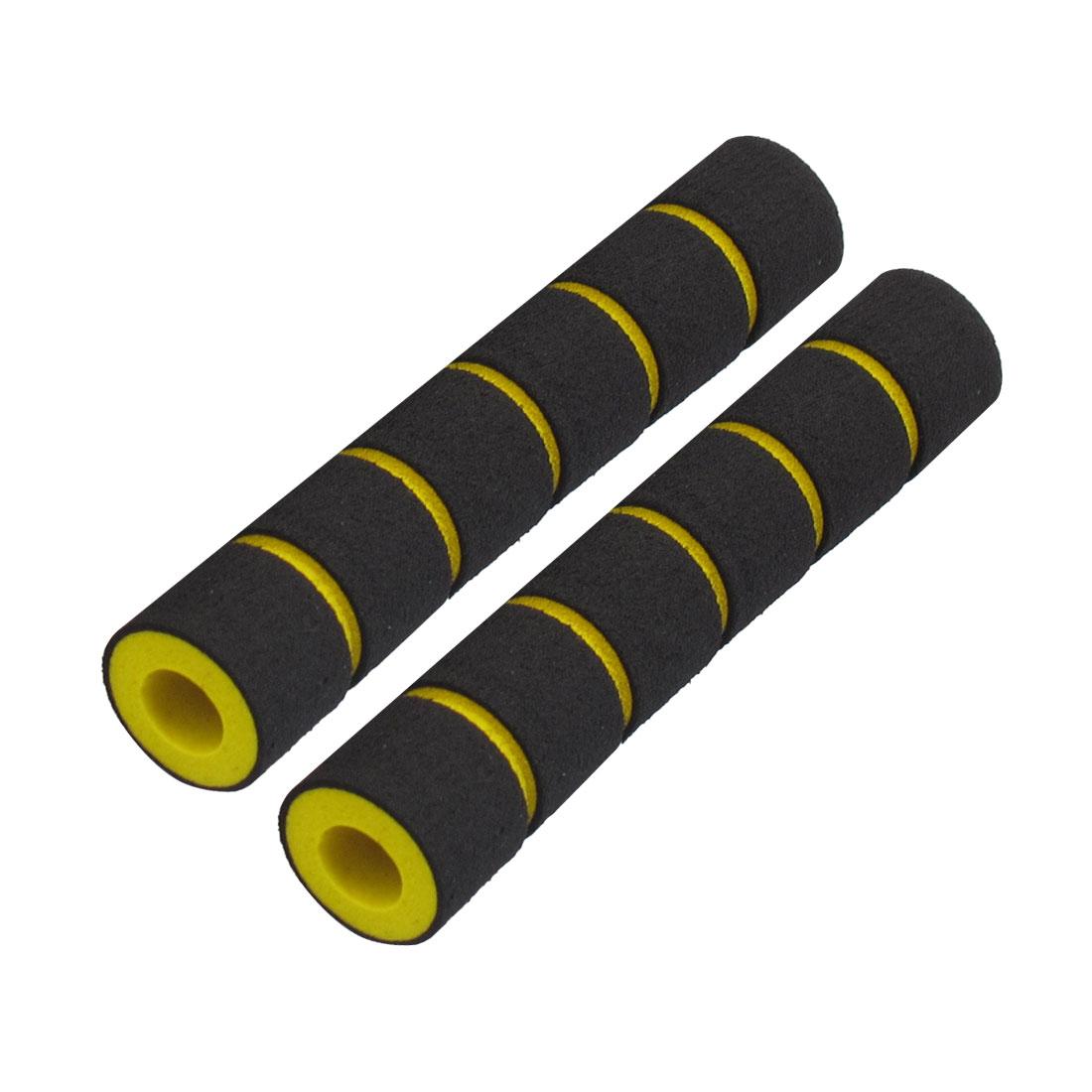 "2 Pcs 0.35"" Dia Striped Nonslip Cycling Bike Handlebar Grip Cover Black Yellow"