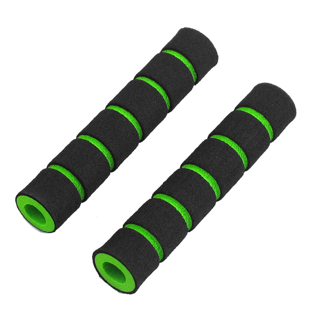"2 Pcs 0.35"" Dia Striped Nonslip Cycling Bike Handlebar Grip Cover Black Green"
