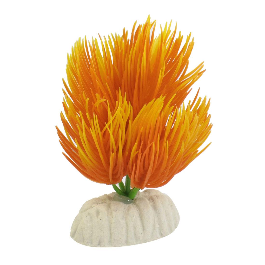 """Aquarium 2.8"""" Height Underwater Plastic Plant Ornament Orange"""