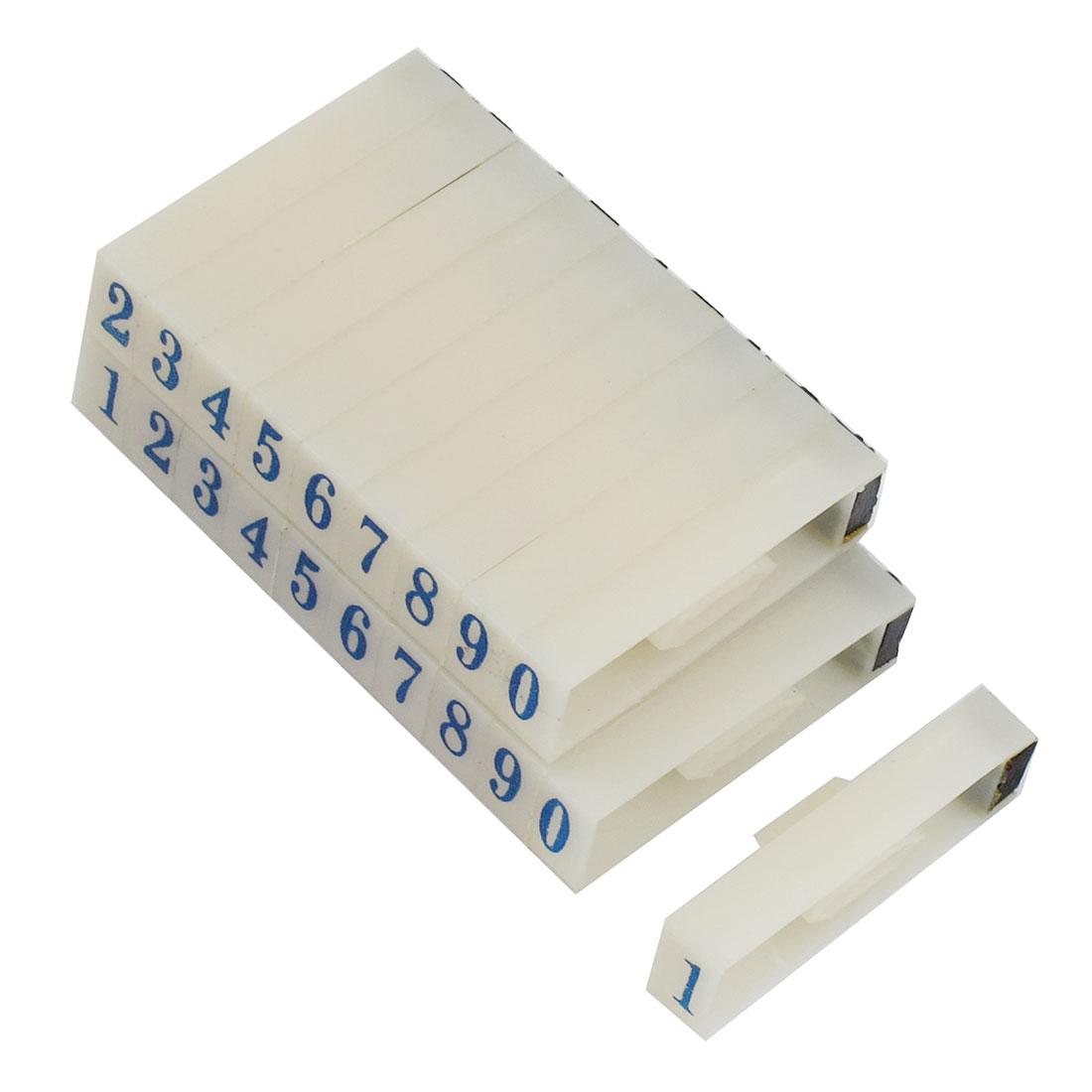 2 Pcs Plastic Blue 10 Digits Arabic Numerals Combination Stamp Block