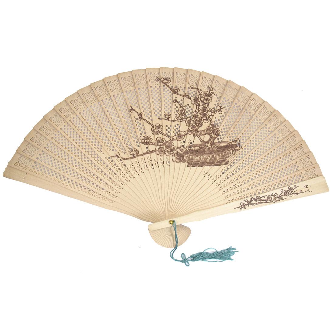 Scented Sandalwood Plum Blossom Pattern Folding Fan Beige