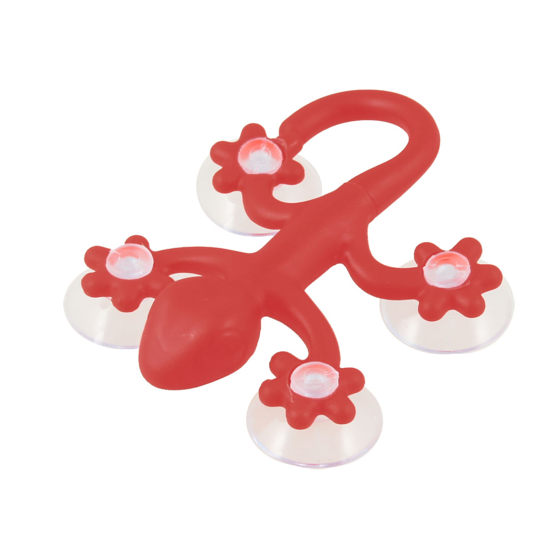 Bathroom Plastic Red Gecko Design Wall Mounted Suction Disc Hook