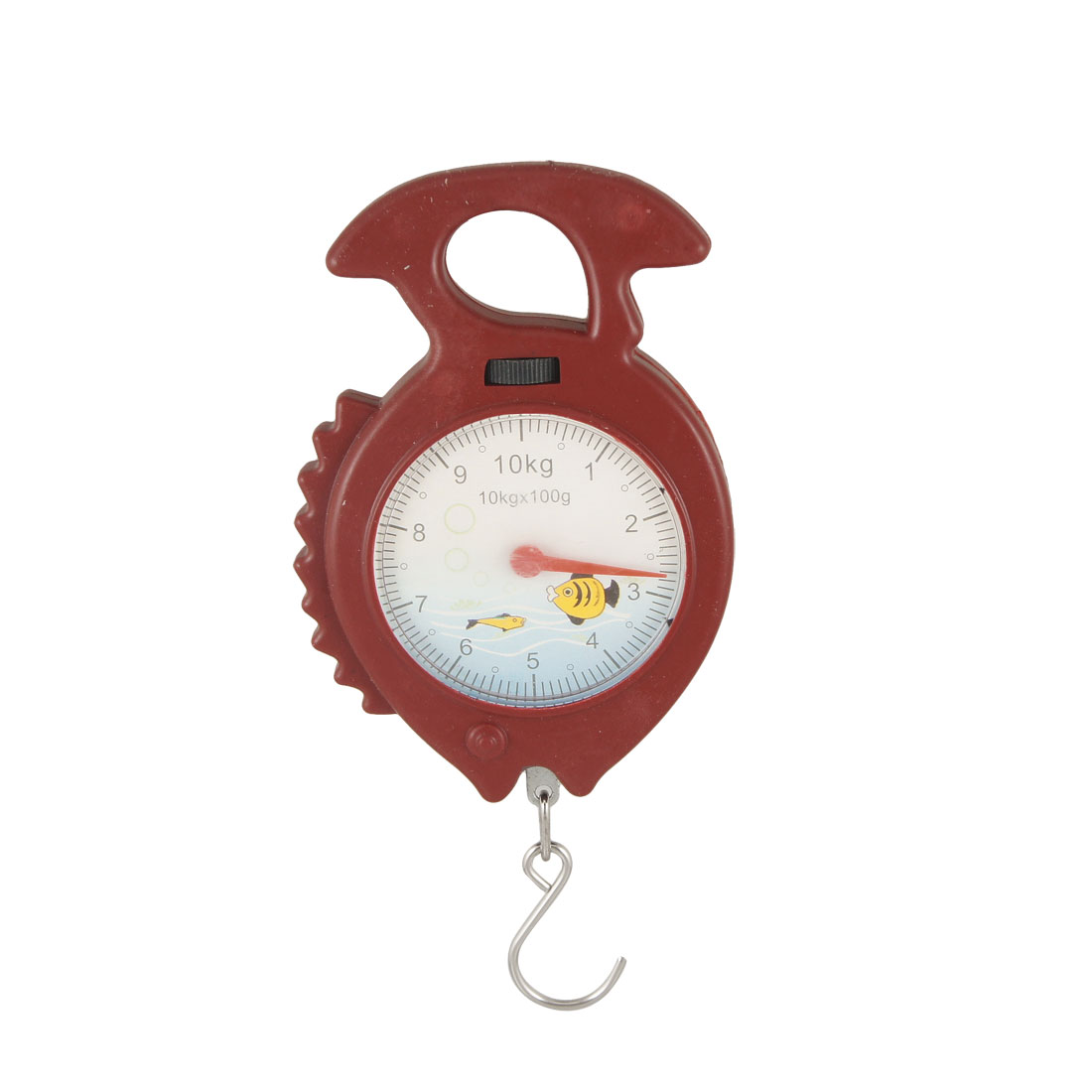 Red Plastic Fish Shaped Handheld Spring Scale Weigh Up 10Kg
