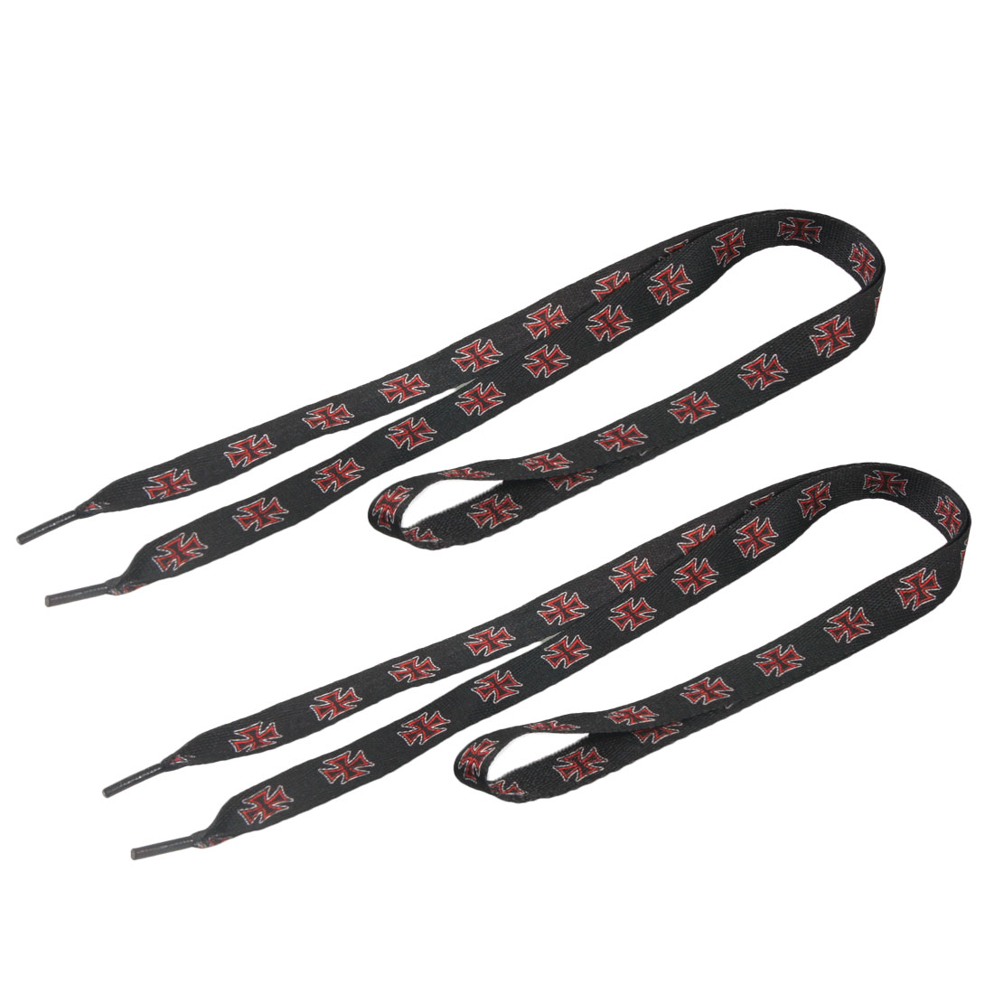 Pair Red White Novelty Print Plastic Tip Black Flat Shoelaces 45""