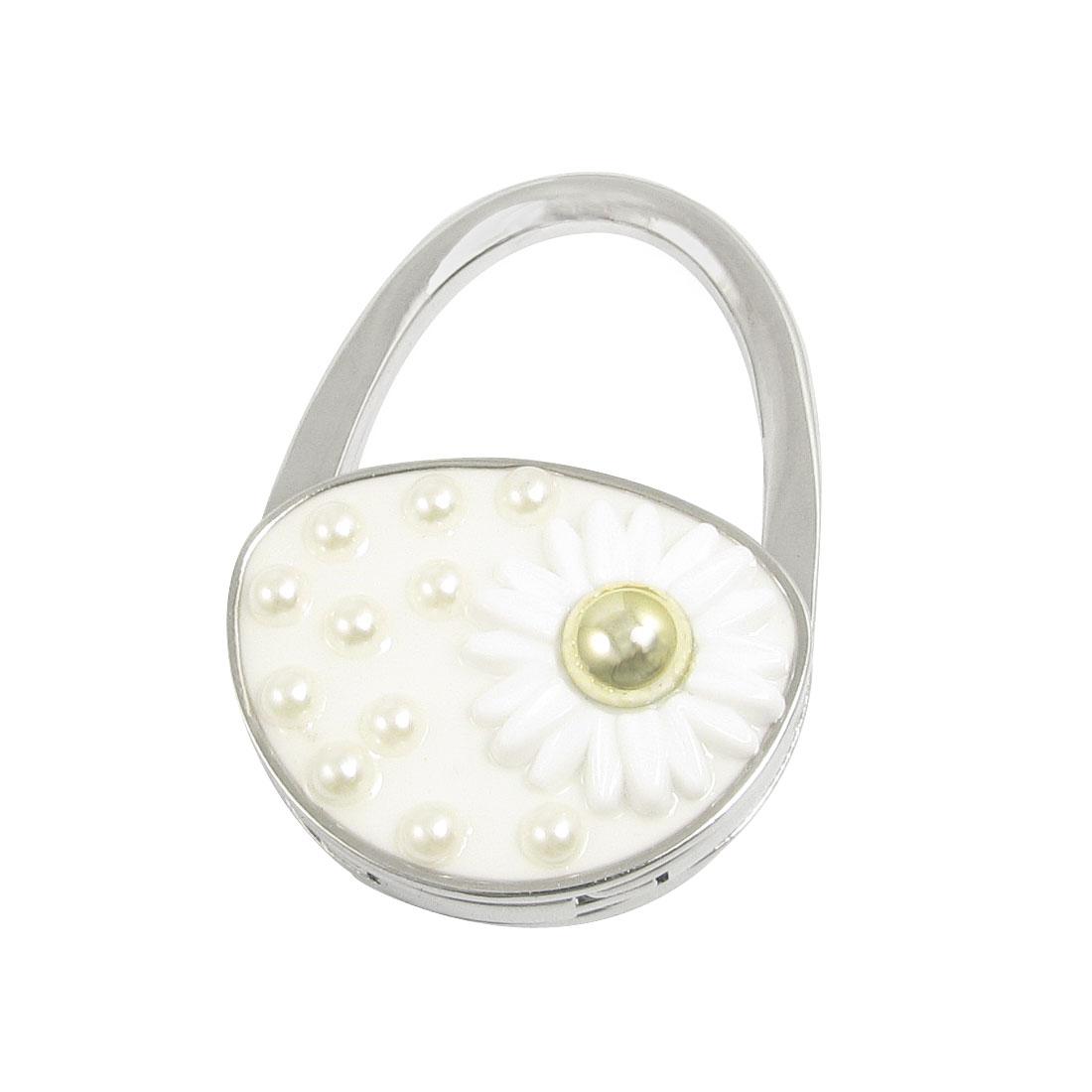 Women Off White Padlock Shape Metal Folding Handbag Hook