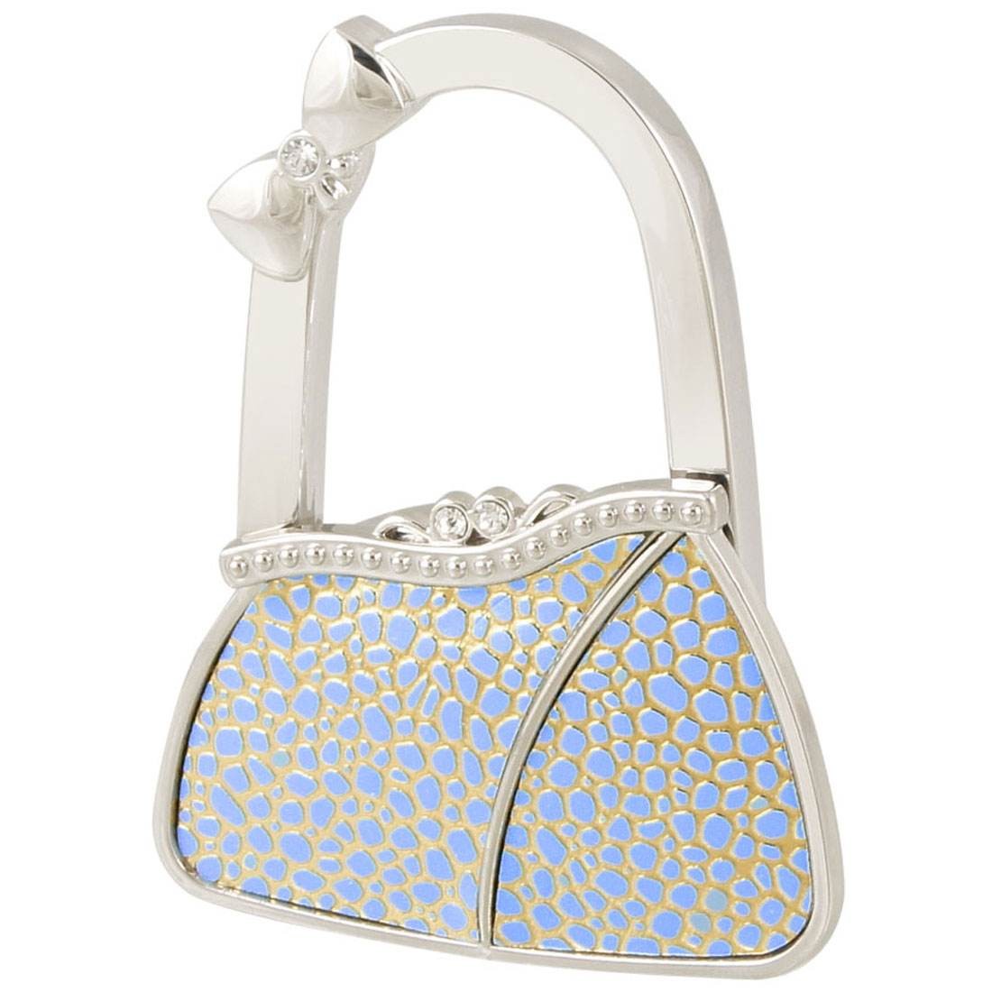 Rhinestone Decor Bag Design Folding Handbag Hook Sky Blue Gold Tone