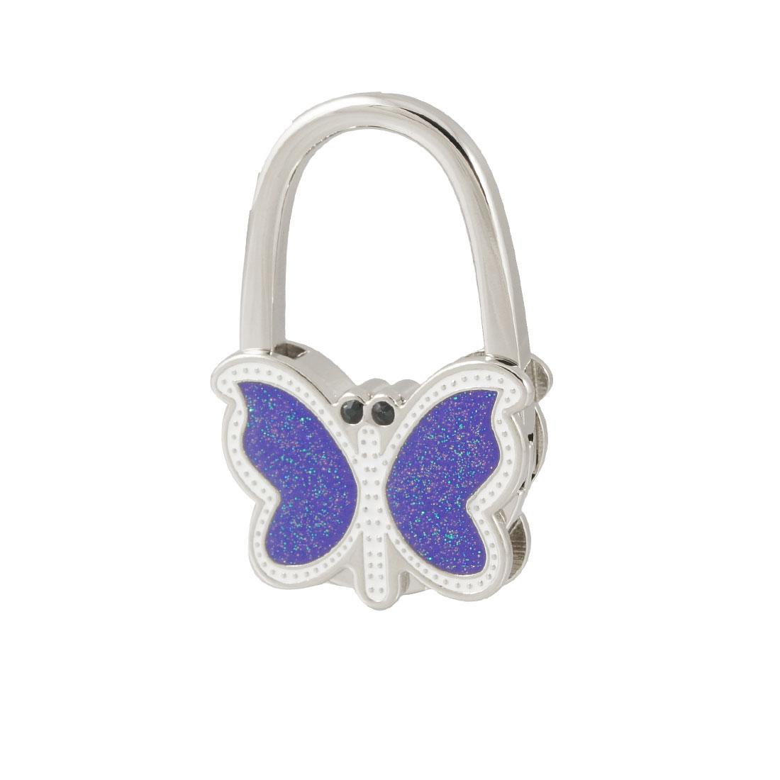 Metal Glittery Blue White Butterfly Handbag Folding Hook Hanger