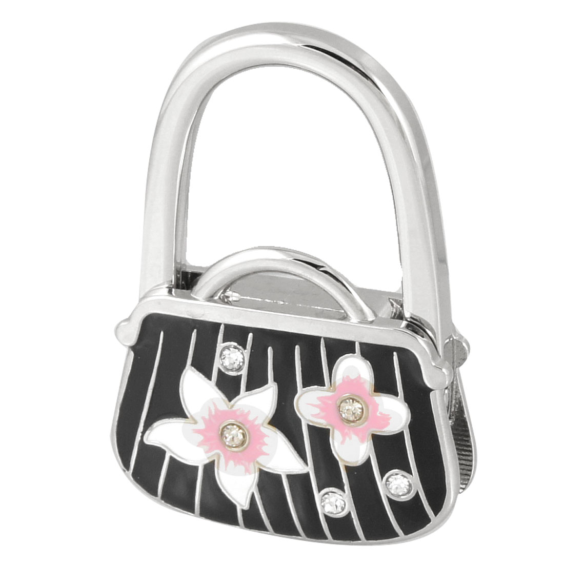 Flower Prints Black Silver Tone Bag Shaped Metal Folding Handbag Hook