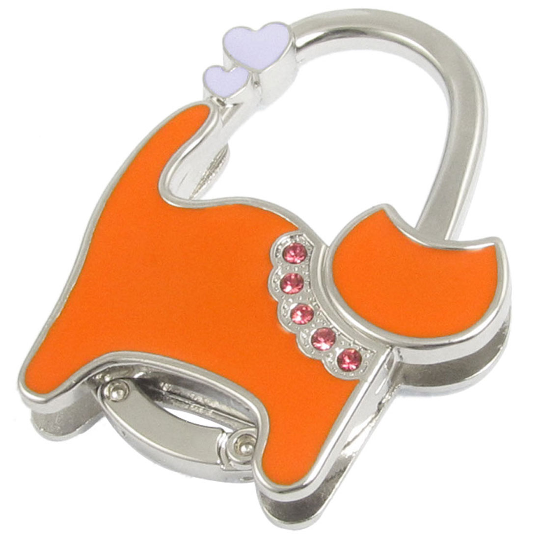 Orange Silver Tone Cute Cat Design Metal Folding Handbag Hook