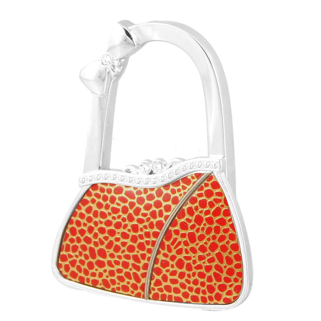 Gold Tone Red Cobble Pattern Metal Bag Shaped Foldable Handbag Hook