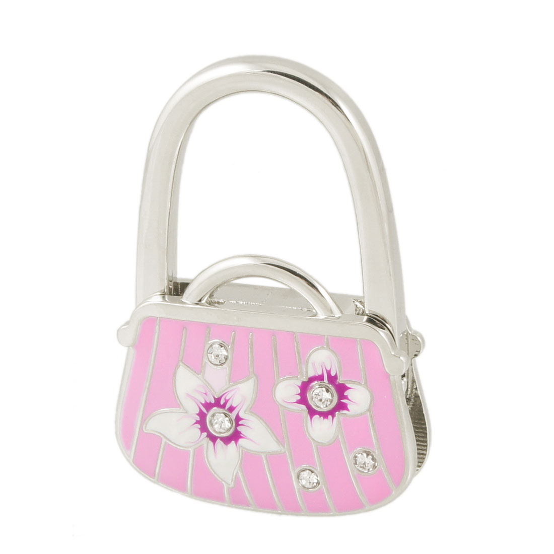 Floral Pattern Pink Silver Tone Bag Shaped Metal Folding Handbag Hook