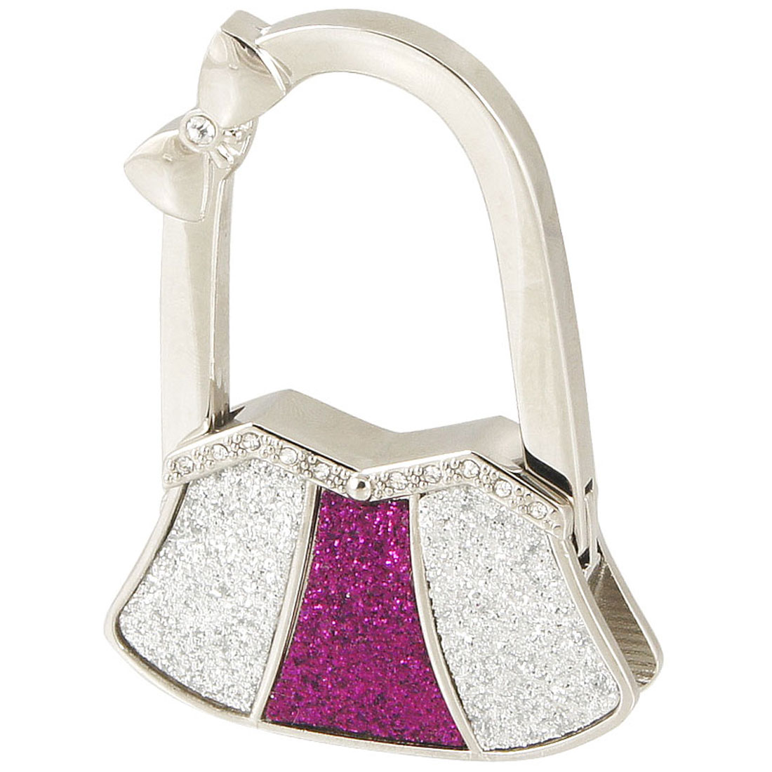 Glittery Silver Tone Purple Bag Shaped Metal Folding Handbag Hook