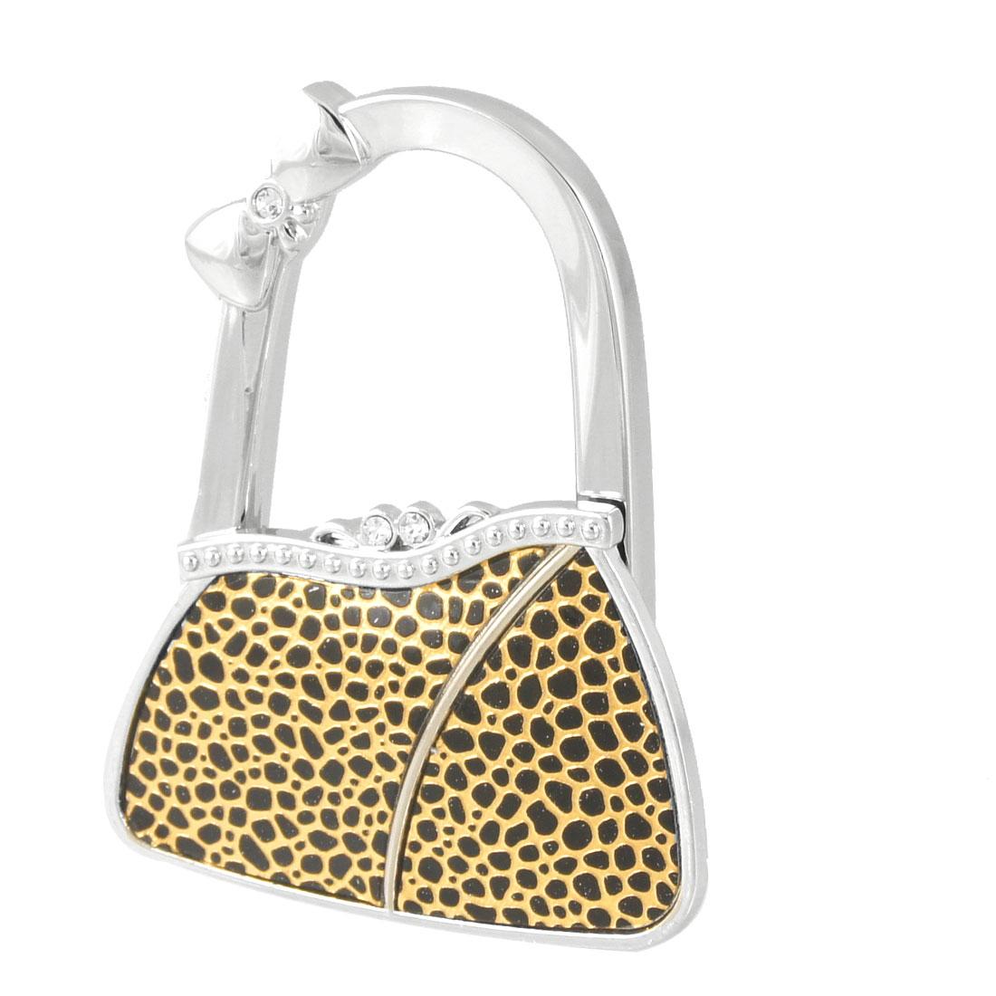 Rhinestone Inlaid Bag Shaped Foldable Handbag Hook Hanger Black Gold Tone