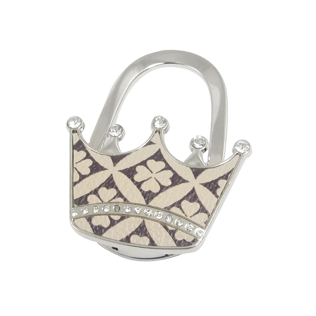 Beige Clover Pattern Rhinestone Crown Padlock Shape Foldable Handbag Hook