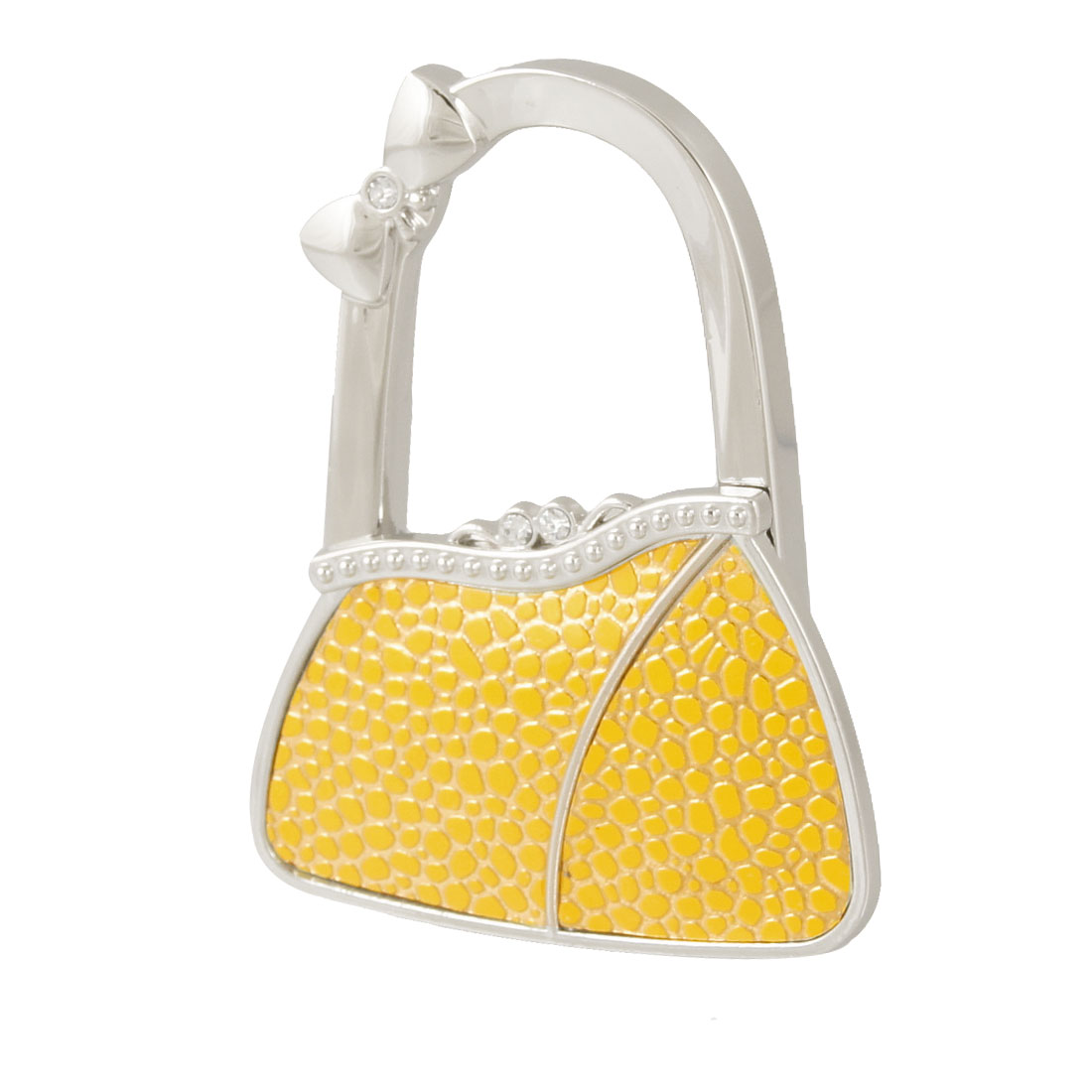 Yellow Gold Tone Cobble Pattern Bag Shape Folding Handbag Hook
