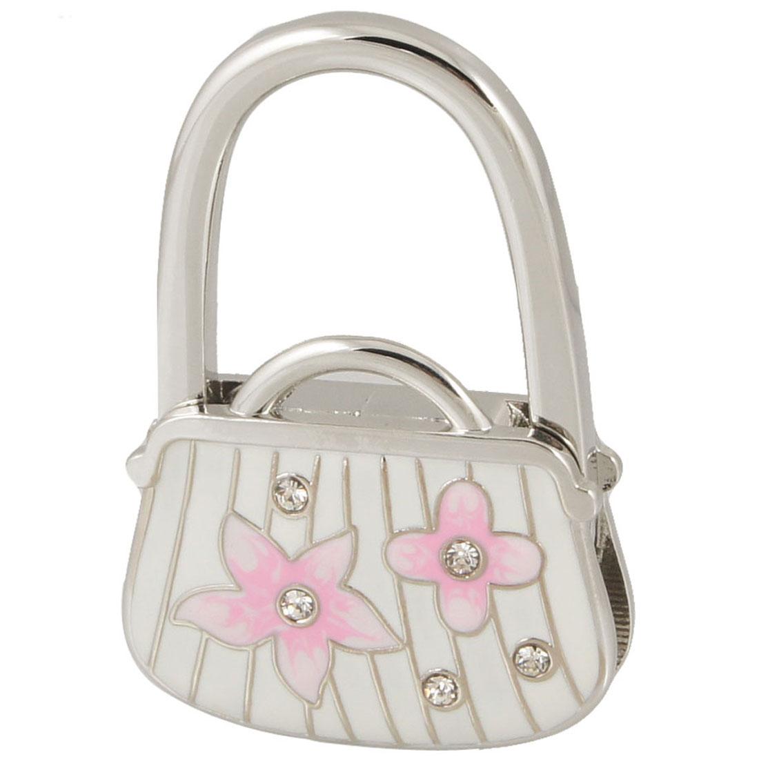 Pink Flower Prints White Silver Tone Bag Shape Folding Handbag Hook