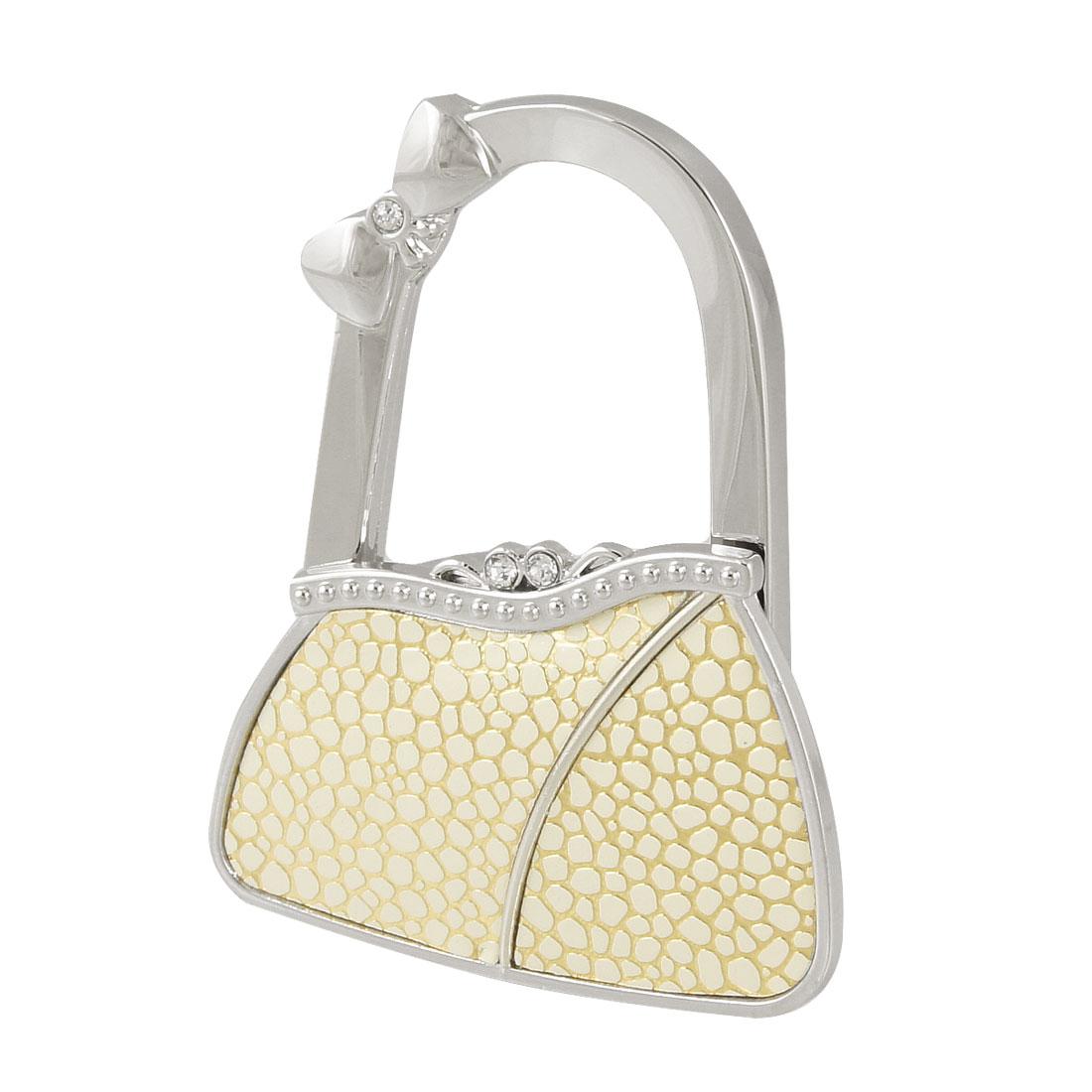 Gold Tone Beige Cobble Prints Metal Bag Shaped Foldable Handbag Hook