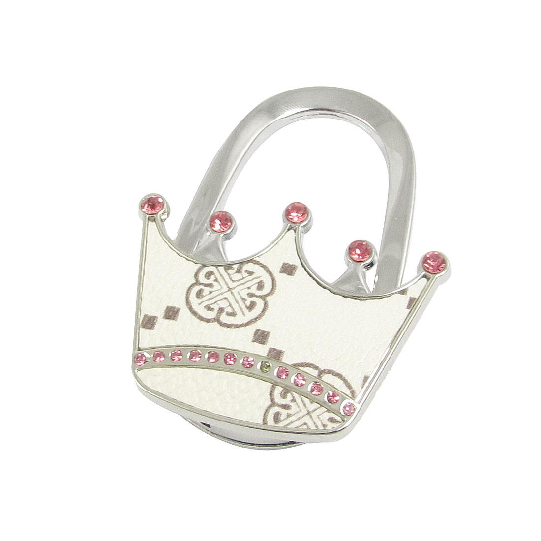 Women White Floral Pattern Padlock Design Folding Handbag Hook Hanger